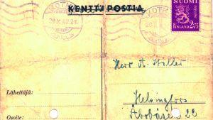 Adressidan av det vykort som läkaren Walter Cohen skrev och bad en besättningsman posta.