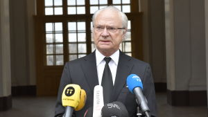 Carl XVI Gustaf håller ett tal bakom många mikrofoner.