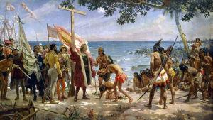 Kolumbus saapuu Karibian saarille.