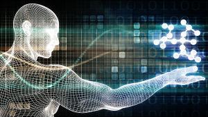 Datorillustration av en man som håller ut handen med molekyler ovanför den.