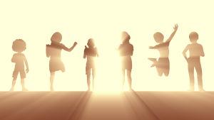 Animerade barn mot solljus.