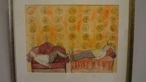 Akvarell av två män på varsin soffa.