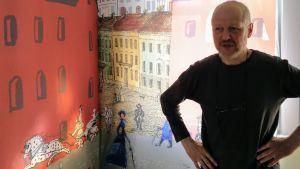 """En del av Alexander Reichsteins collage """"I stan"""". Nykarleby 2018"""