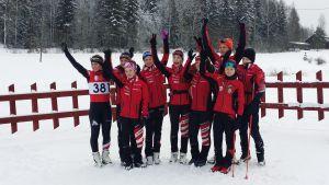 Pargas IF:s tre guldlag i stafett i FSSM i Vörå, 14.2.2016.