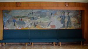 Väggmålningen Fredrikshamns historia av Tove Jansson.