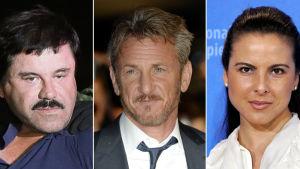 """Joaquin """"El Chapo"""" Guzman, Sean Penn och Kate del Castillo. Nyckelpersonerna i Rolling Stones' artikel om Guzman. Artikeln publicerades 8.1.2016"""
