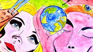 Ett tecknat drömlandskap där en kvinna tittar uppåt och en man håller en jordglob mot sin panna.