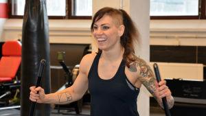 Eva Wahlström tränar på Sport Science Lab i Åbo, mars 2018.