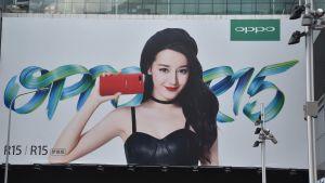 Reklam för Oppos mobiltelefon i Kina