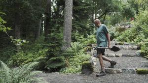Puutarhuri Esa Kallio kävelee lapio kädessä hiekkakäytävällä Hörtsänän arboretumissa Orivedellä, taustalla havupuita.