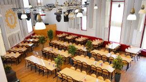 Matsalen/festsalen i TF:s nationshus Urdsgjallar.