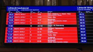 Många tåg var inställda under utmarschen 31.3.2016