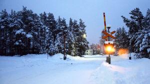 En plankorsning där ljusanordningen lyser. Bommarna är uppe. Marken är täckt av snö.
