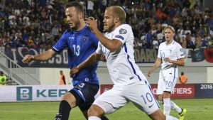 Teemu Pukki gjorde Finlands enda fullträff i matchen mot Kosovo.