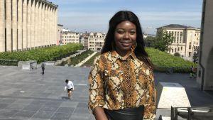 Primrose Ntumba fotograferade vid Mont des Arts i Bryssel,