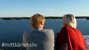 En man och en kvinna står och blickar ut över havet från ett fartyg.