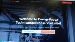 En bild av en datorskärm som visar upp en hemsida för EnergyVaasa.