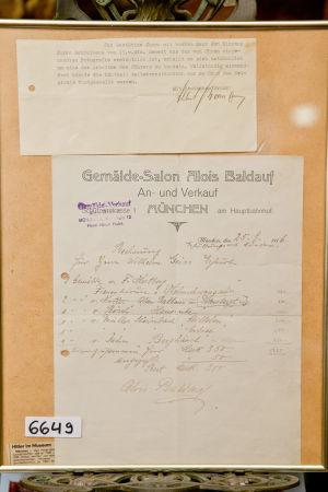 Köpebrevet till Hitlers akvarellmålning och ett brev undertecknat av Albert Bormann som kom med den utauktionerade akvarellen.