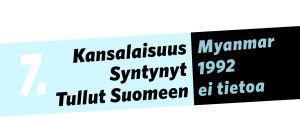 Kansalaisuus: Myanmar, syntynyt: 1992, tullut Suomeen: ei tietoa.
