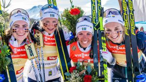 Ebba Andersson, Frida Karlsson, Charlotte Kalla och Stina Nilsson ingick i VM-stafettlaget som vann guld 2019.