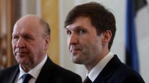 Det estniska Ekre-partiets ledare Mart Helme (t.v.) och sonen Martin Helme (t.h.).