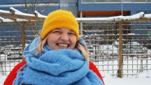 Julie Ebbe i vinterlandskap.