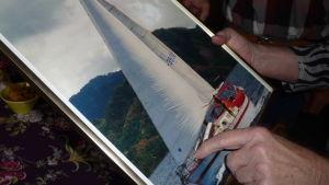 Bild på segelbåten Sampo, som Seppo Sarekoski har byggt själv.