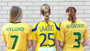Tre tjejer står med ryggen mot kameran, iklädd sina speltröjor.
