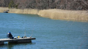 Fritidsfiskare sitter på en brygga och väntar på napp.
