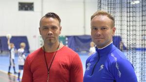 Arto Hujanen och Sauli Tikka i Fennia Arenan i Sjundeå.