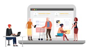 Graafinen kuvituskuva eri ihmisryhmistä, joita digilaitteiden saavutettavuus auttaa.