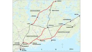 En karta över södra finland där planerade tågbanor har ritats ut.