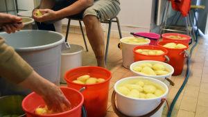 Två personer sitter vid en så och skär potatis i bitar. Bredvid syns flera ämbar med skalad potatis.