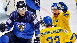 Collage av bilder på Finlands hockeylandslag och Sveriges hockeylandslag.