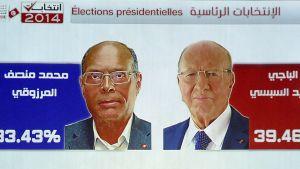 Valet i presidentvalet i Tunisien den 21 december 2014 står mellan Beji Caid Essebsi (till vänster) och den sittande presidenten Moncef Marzouki.