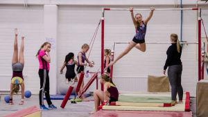 Redskapsgymnaster tränar.