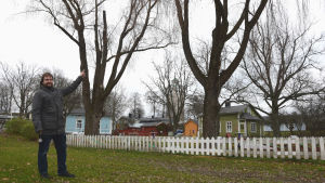 En man med skägg och en grå jacka står framför en minigolfplan och pekar upp i ett träd utan löv.