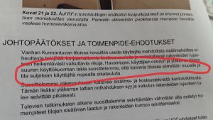 Brev på finska med texten: Vi rekommenderar att verksamheten i lokalerna flyttas bort och att lokalerna stängs enligt en snabb tidtabell.