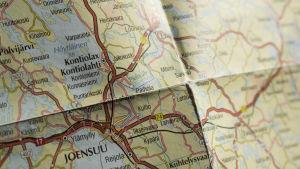 Karta som visar kommunen Kontiolax / Kontiolahti.