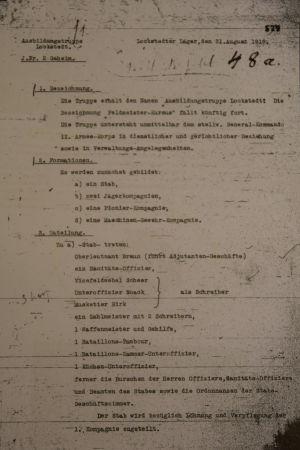 Ukasen som beskriver tillblivelsen av den finska bataljonen i Lockstedter Lager (Original)