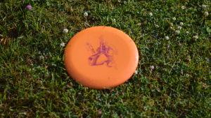 En frisbee som ligger på gräset.