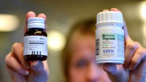 Sköldkörtelmedicinerna Thyroxin och Thyroid.