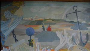 Fredrikshamn i Tove Janssons väggmålning.