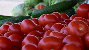 Grönsaker på torg.