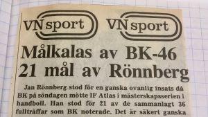 Handbollsspelaren Jan Rönnberg gjorde 21 mål i en match, bilden från en tidning.