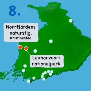 Karta över Finland med Kristinestad och Lauhanvuori markerat.