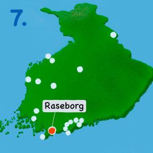 Karta över Finland med Raseborg markerat.