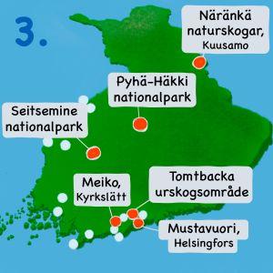 Karta över Finland med Meiko, Seitsemine, Tomtbacka, Mustavuori, Pyhä-Häkki och Näränkä markerade.