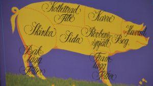 Karta över grisens olika köttdelar
