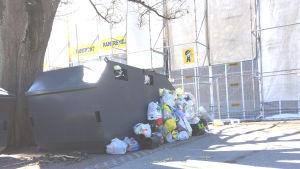Ett sopkärl med soppåsar bredvid sig på marken.